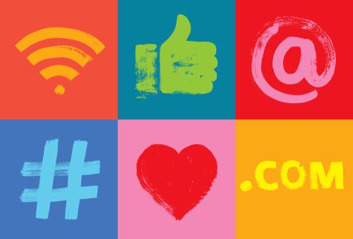 Sechs Symbole sozialer Medien, Grunge Textur, E-Mail, Marketing, Apps, auf Symbolen, Facebook, Google-Analyse, handgehabt, Hashtag, Hashtag-Marketing, Millennials, Smartphone-Technologie, online, lebhaft, Moin Future, Ausbildung, Azubimarketing